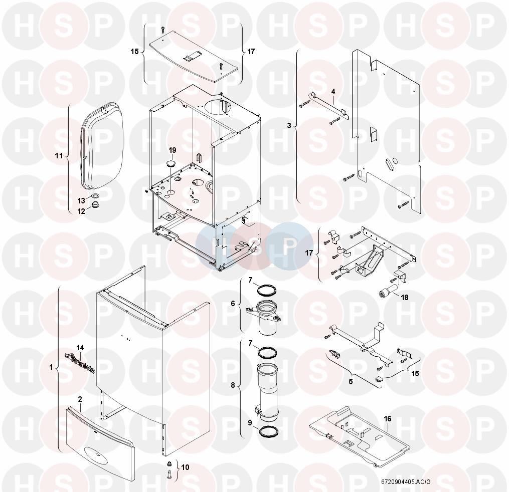 worcester greenstar combi 35 cdi appliance diagram  casing