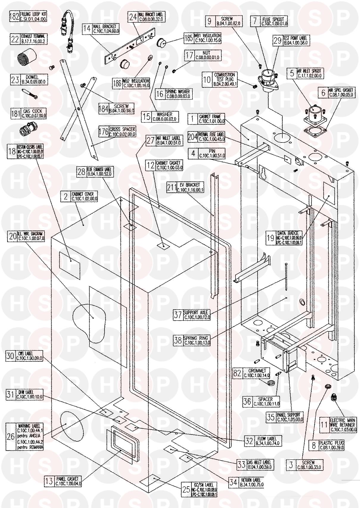 keston keston c36 combi boiler diagram casing heating spare parts click the diagram to open it on a new page