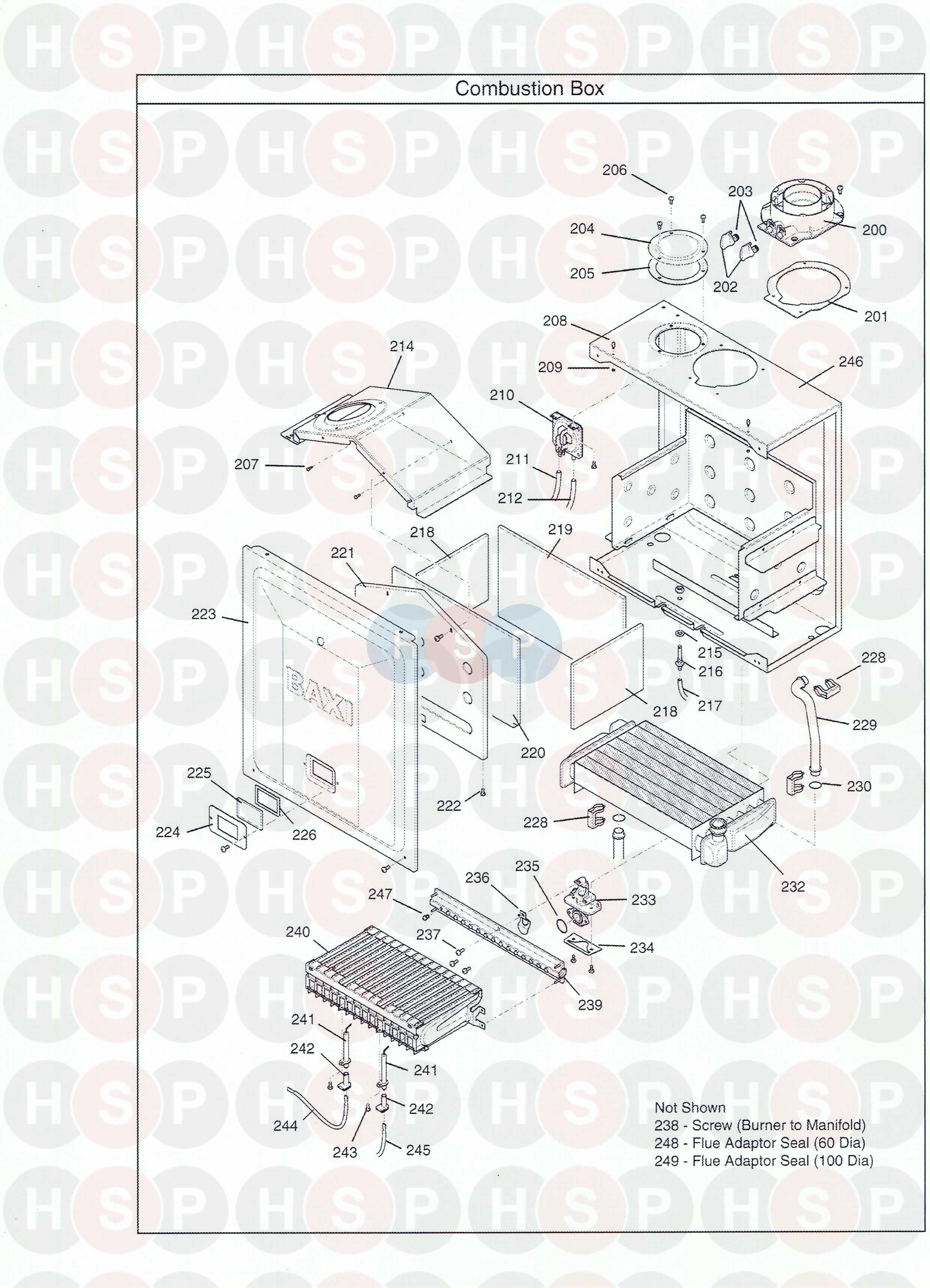 baxi combi instant 105e he appliance diagram  combustion