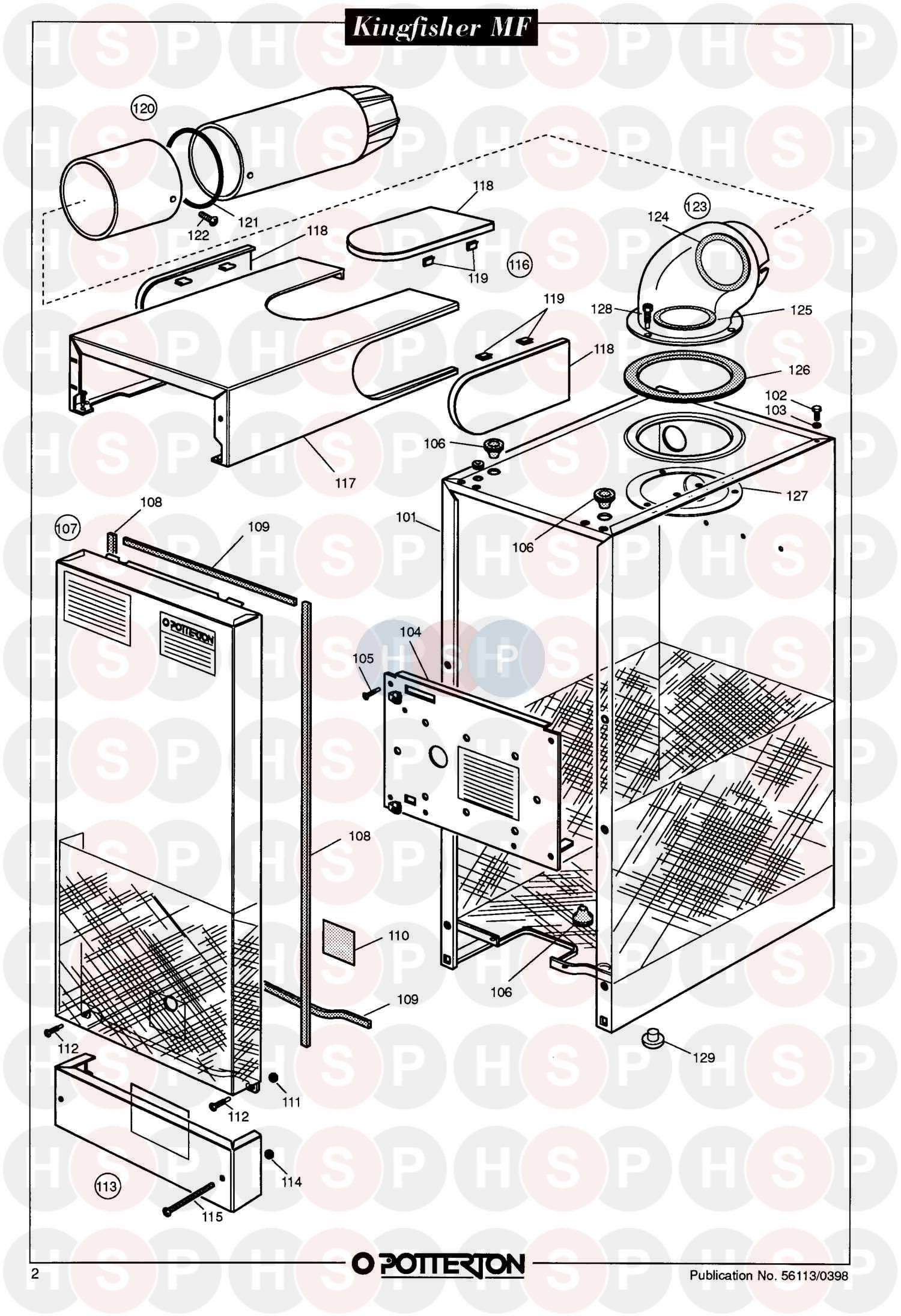 potterton kingfisher mf rs80 appliance diagram  assembly 1