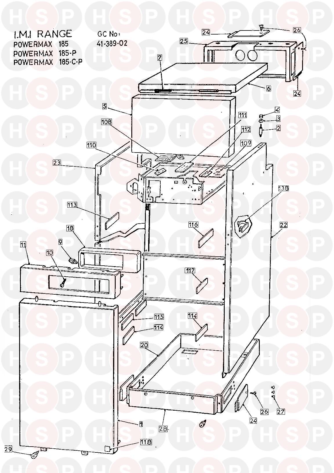 powermax powermax 185 thermal store appliance diagram  casing