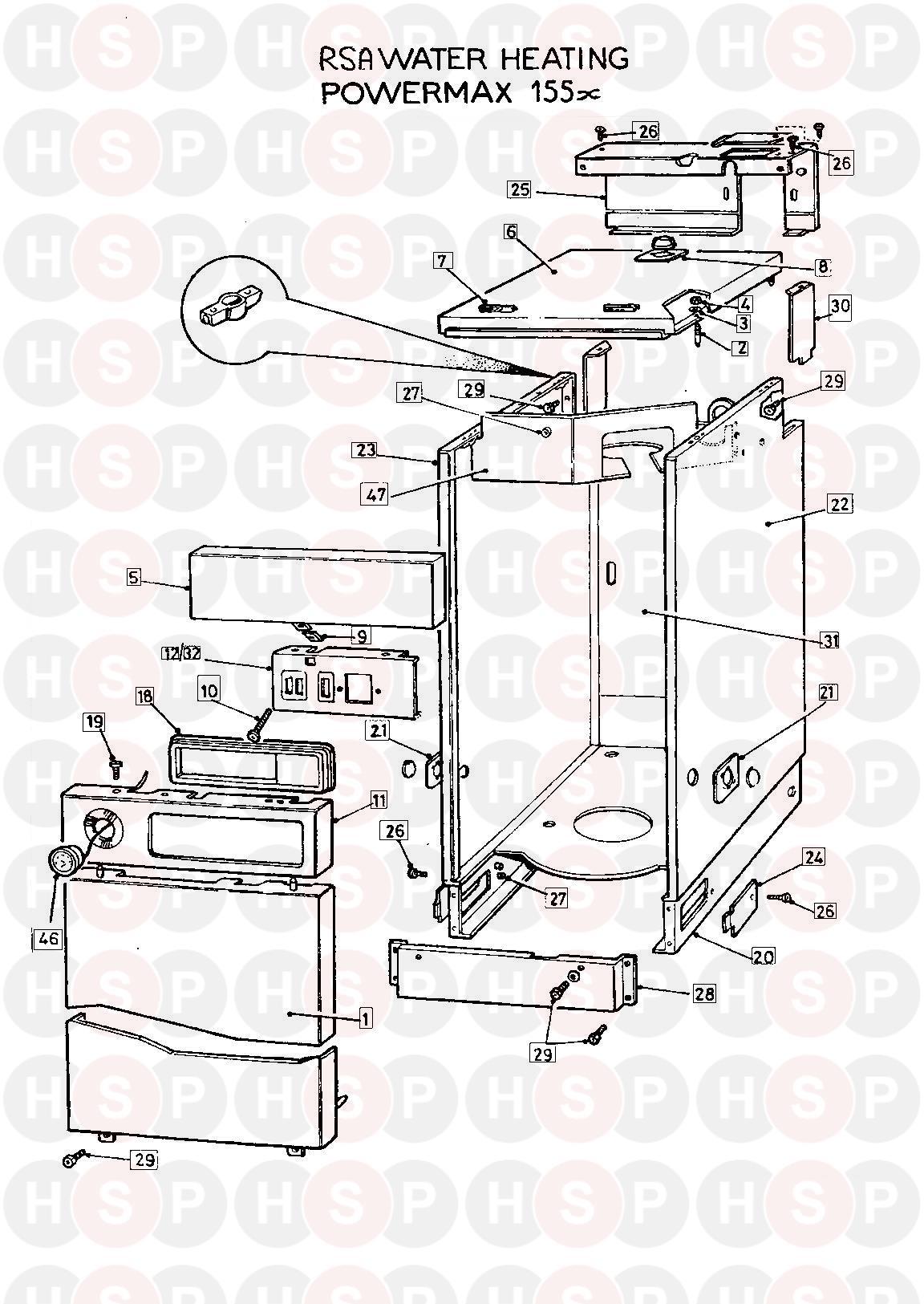 powermax powermax 155x fss appliance diagram  casing