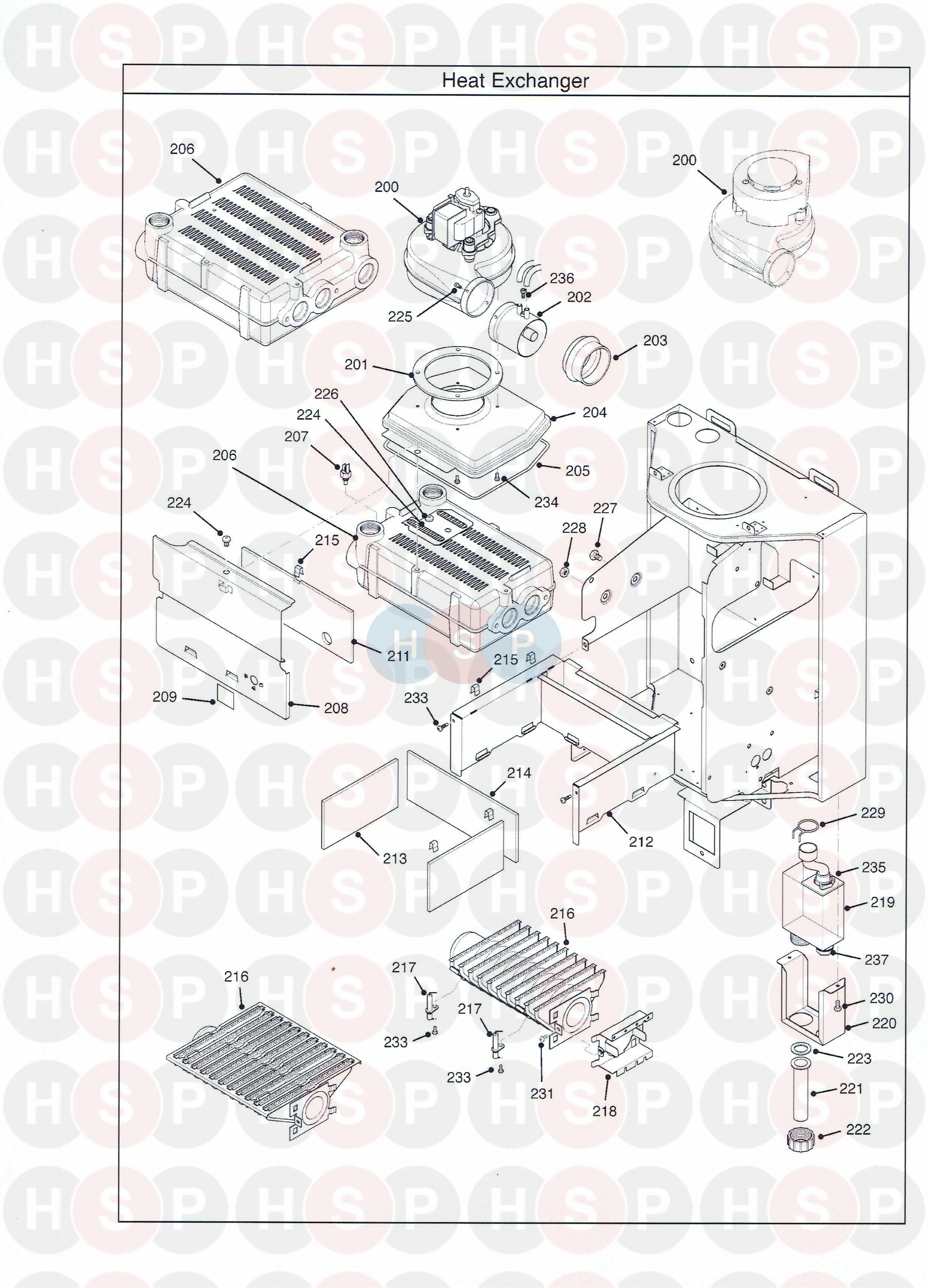 potterton performa 12 sl appliance diagram  heat exchanger