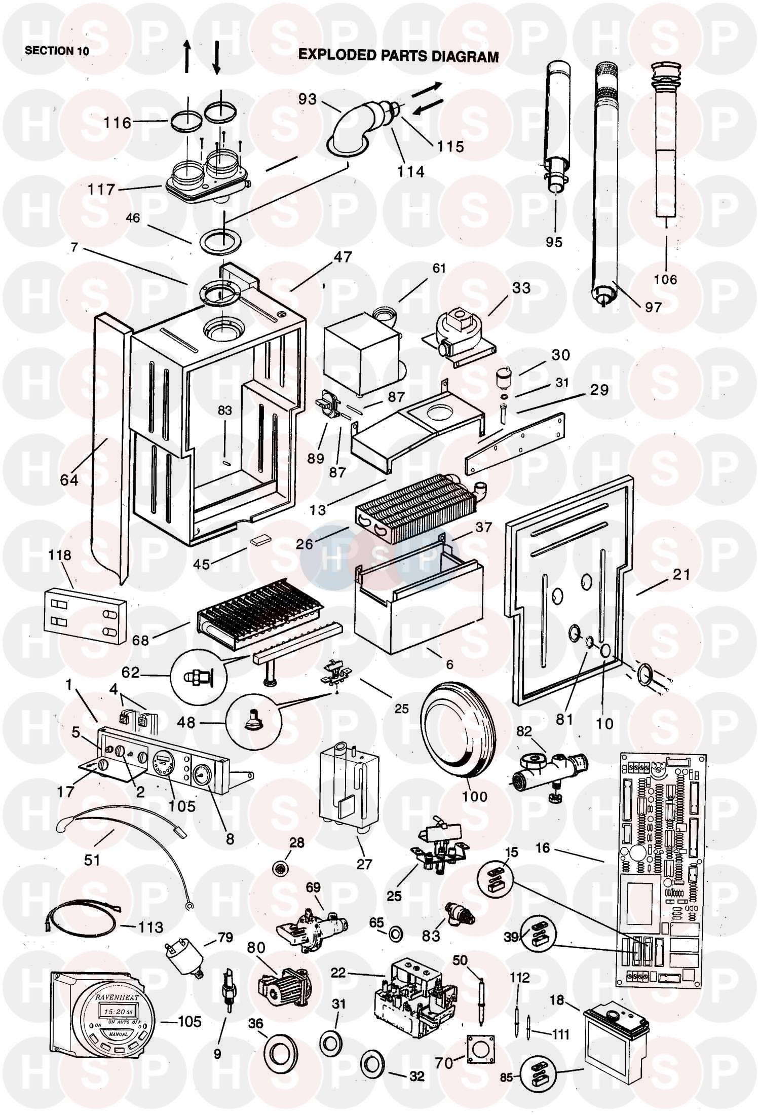 ravenheat csi 85  condensing  lpg boiler diagram  exploded