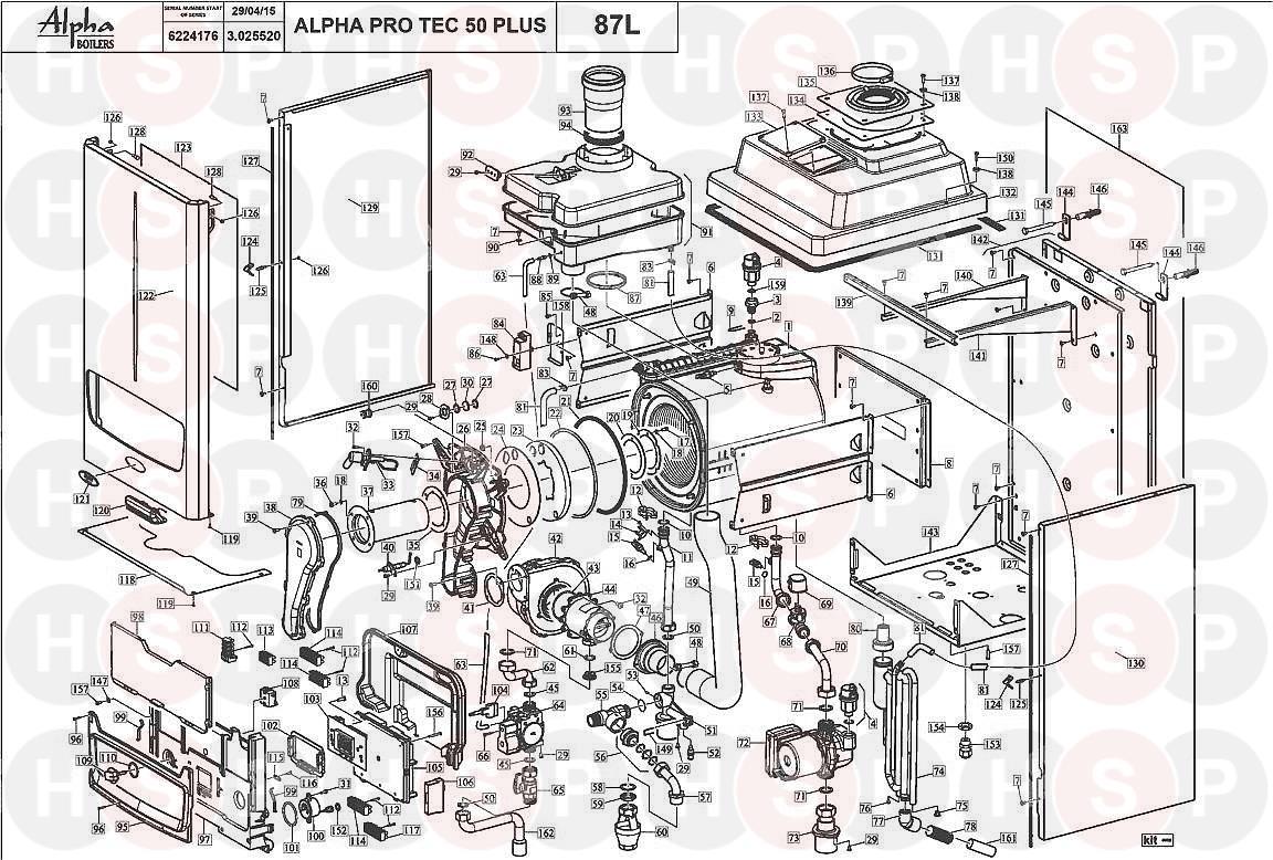 Alpha PRO TEC PLUS 50 Appliance Diagram (BOILER EXPLODED