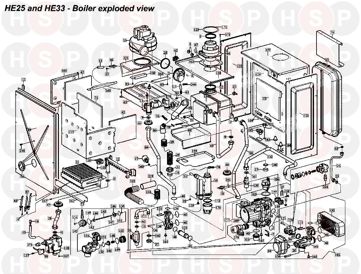 BOILER ASSEMBLY diagram for Alpha HE 25