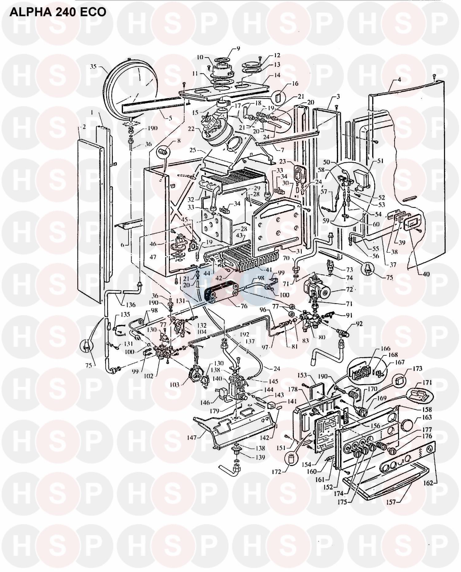alpha 240 eco  boiler assembly 1  diagram