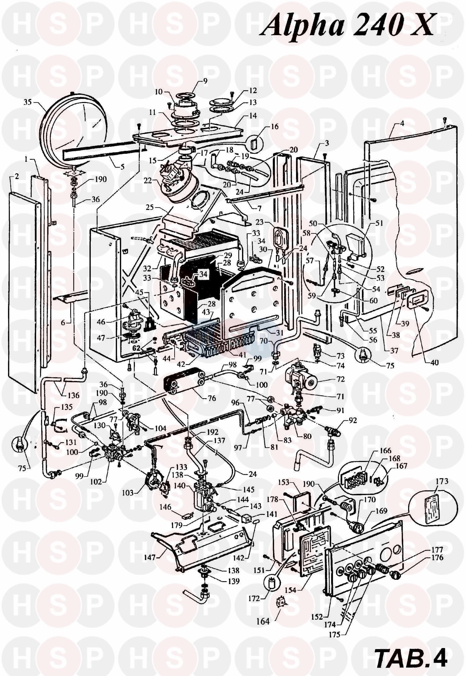 Alpha 240 X Boiler Assembly 1 Diagram Heating Spare Parts Cb50 Wiring For