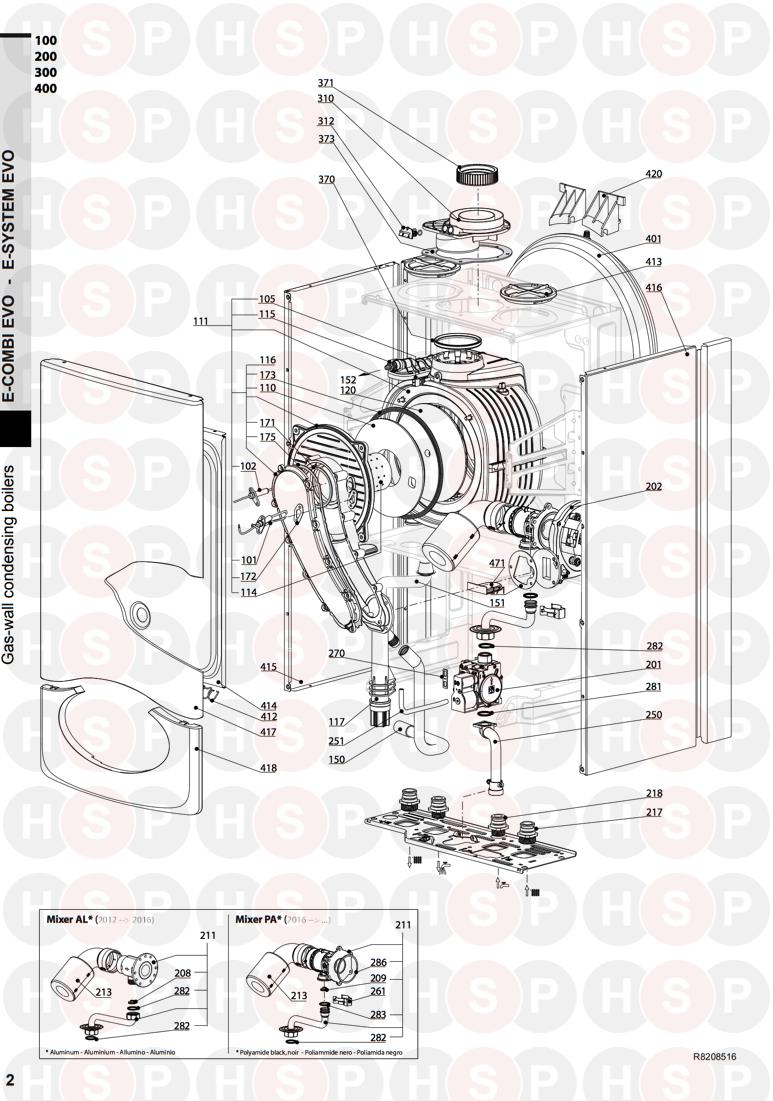 Ariston E COMBI EVO 30 Appliance Diagram (BURNER