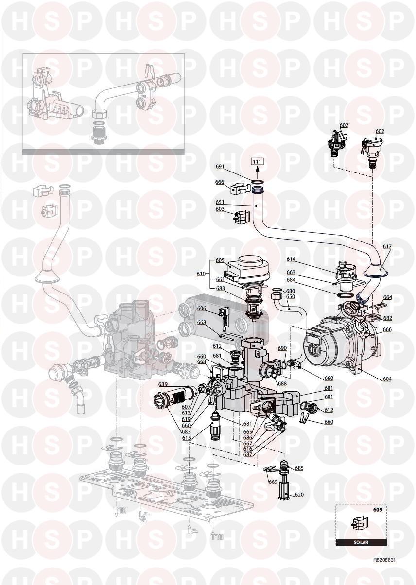 Ariston CLAS HE EVO SYSTEM 24 (Return Group) Diagram