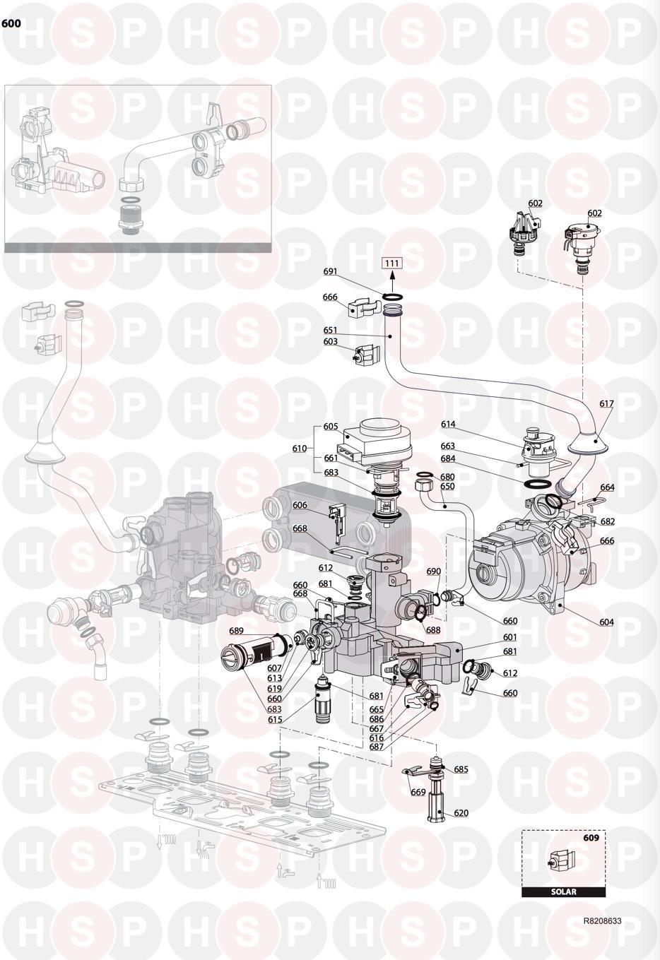 Ariston E SYSTEM EVO 30 ERP Appliance Diagram (RETURN