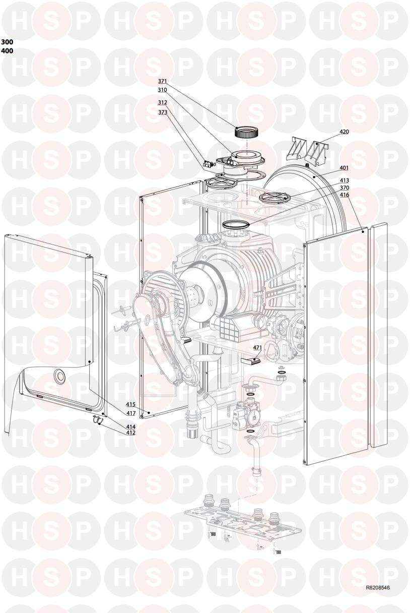 Ariston E COMBI EVO 38 ERP Appliance Diagram (CASING