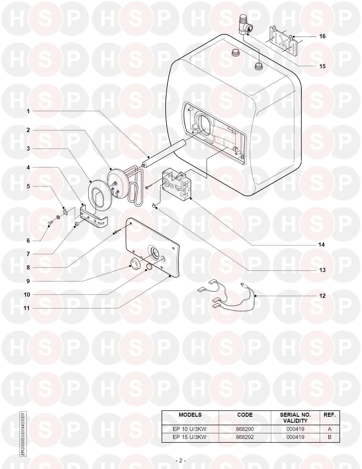 Ariston EUROPRISMA EP 15 U/3kw (EXPLODED VIEW)Diagram