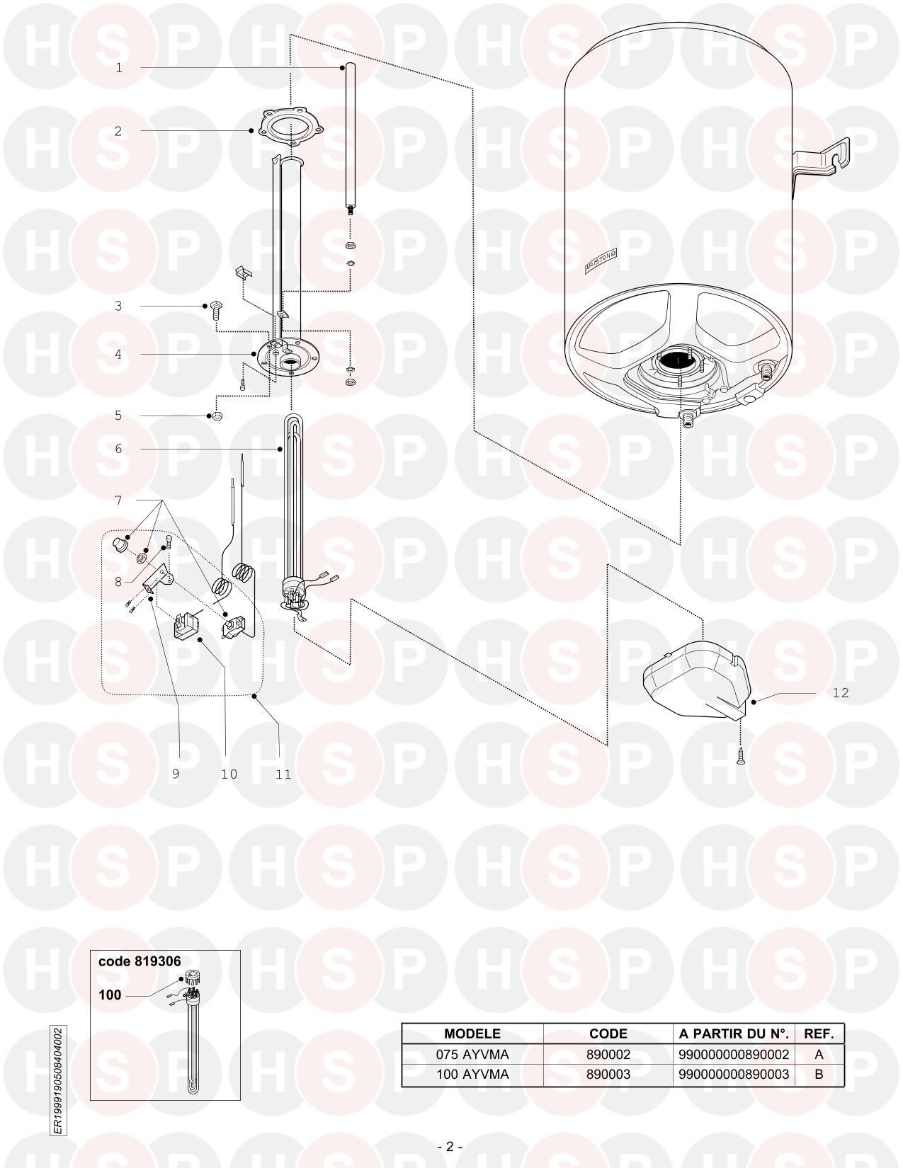 Ariston 100 AYVMA from Serial No. 990000000890003