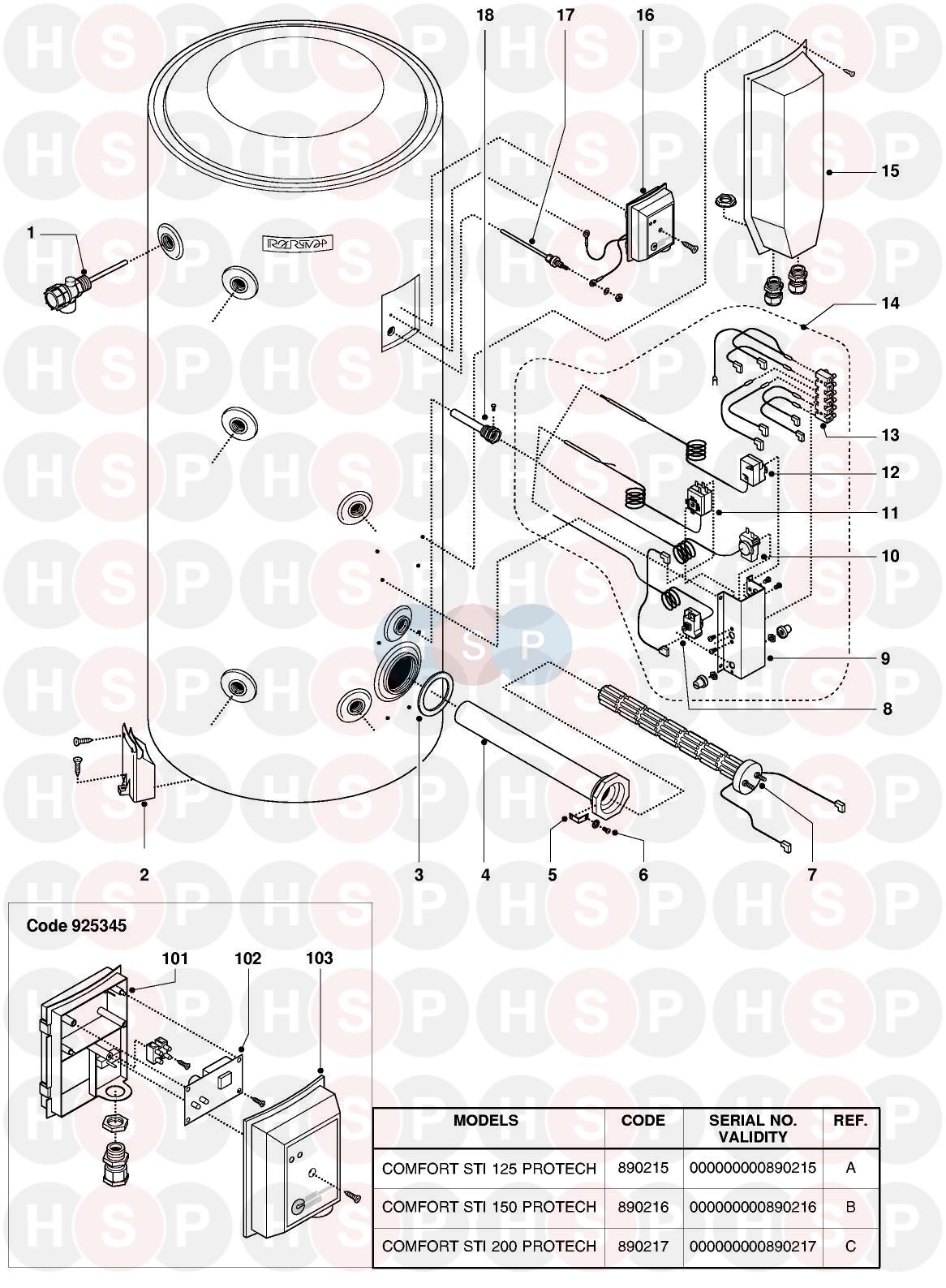 Ariston COMFORT STI 150 PROTECH Appliance Diagram