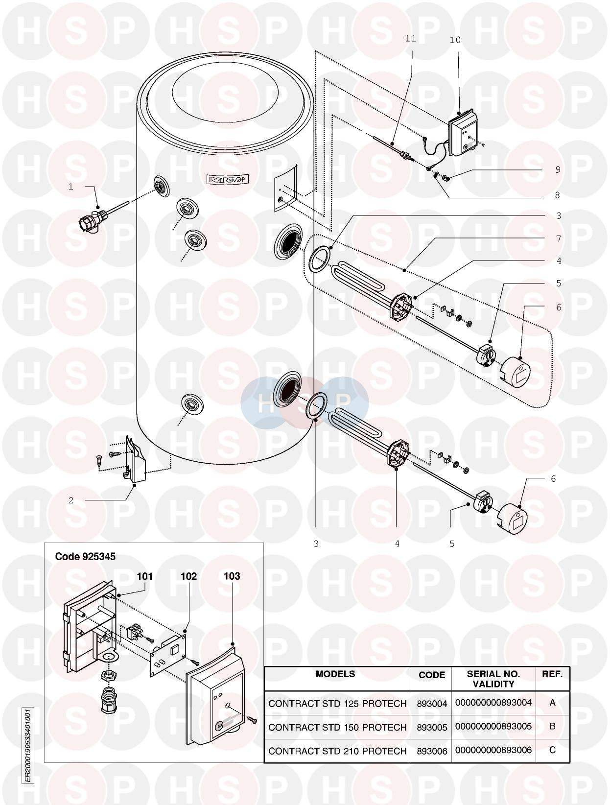 Ariston CONTRACT STD 210 PROTECH Appliance Diagram
