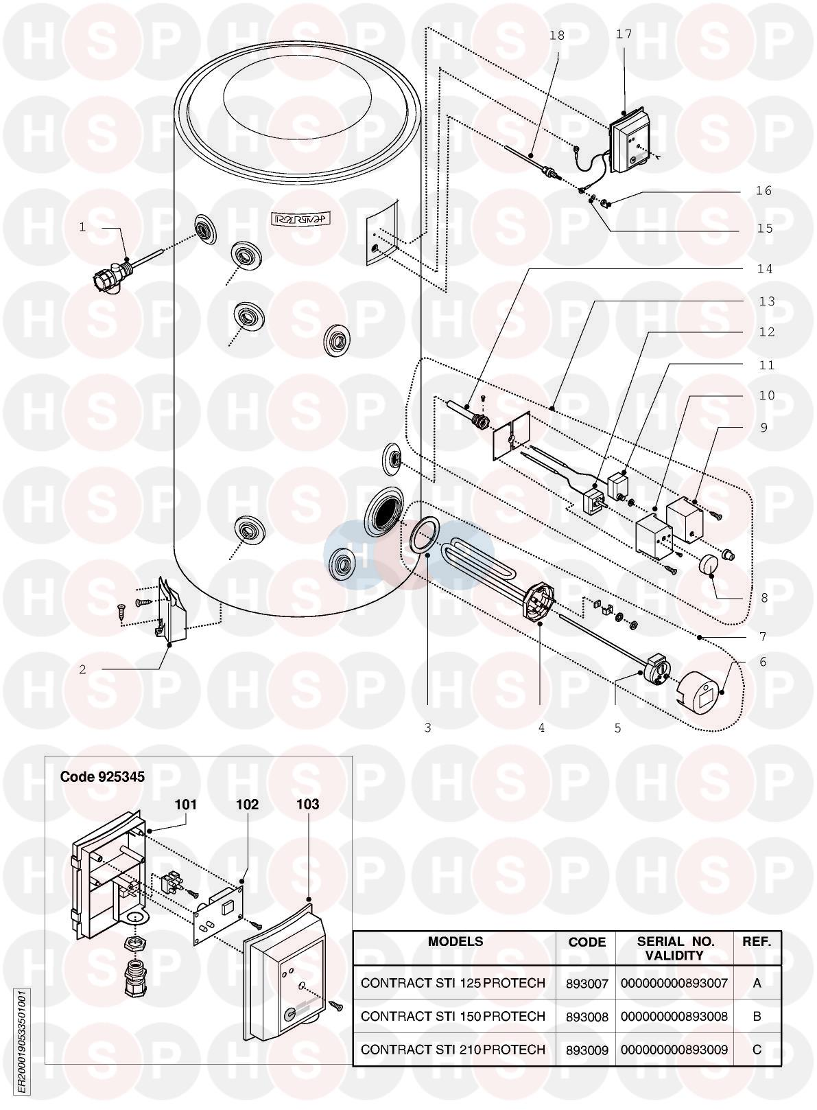 EXPLODED VIEW diagram for Ariston CONTRACT STI 150 PROTECH