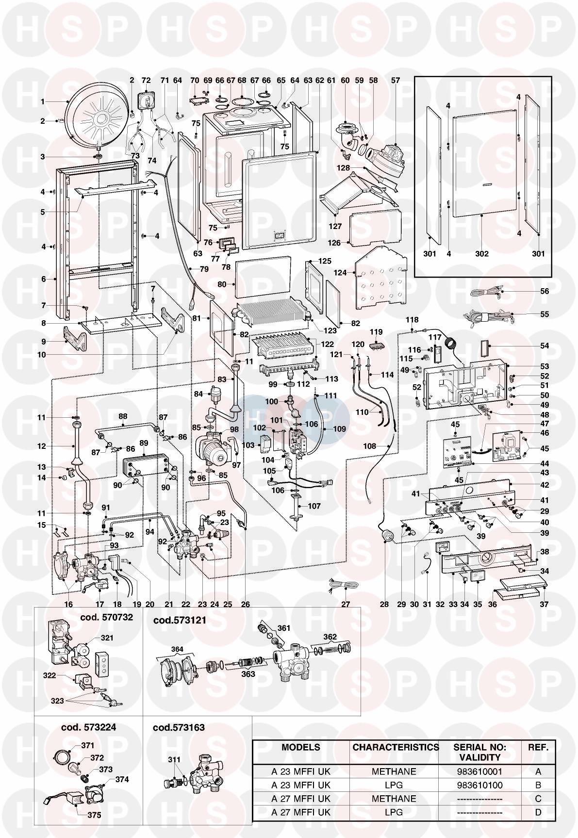 EXPLODED VIEW diagram for Ariston EUROCOMBI A23 MFFI EDITION2