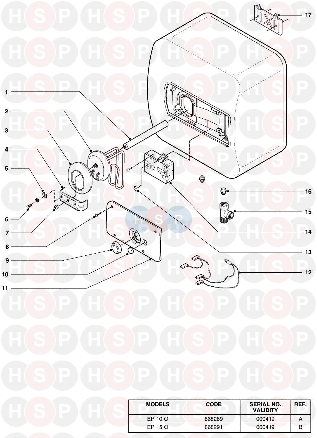 Ariston EP 10 O EDITION 1 Appliance Diagram (EXPLODED VIEW