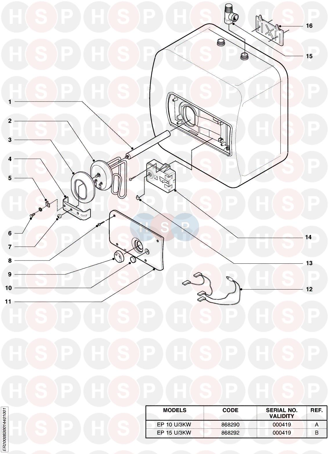 Ariston EP 10 U3KW EDITION 1 Appliance Diagram (EXPLODED