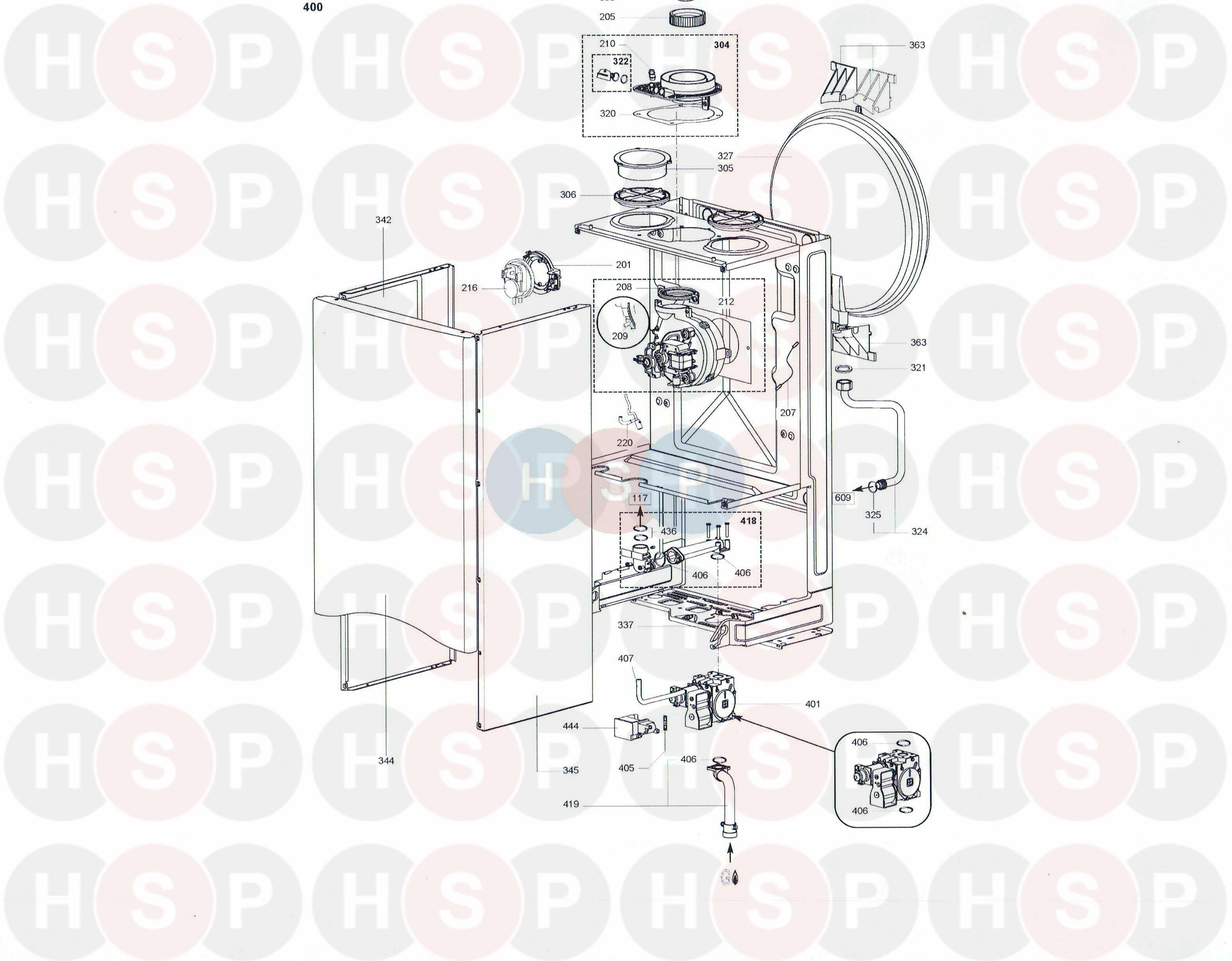 Ariston CLAS 28 FF SYSTEM (FAN/GAS VALVE) Diagram