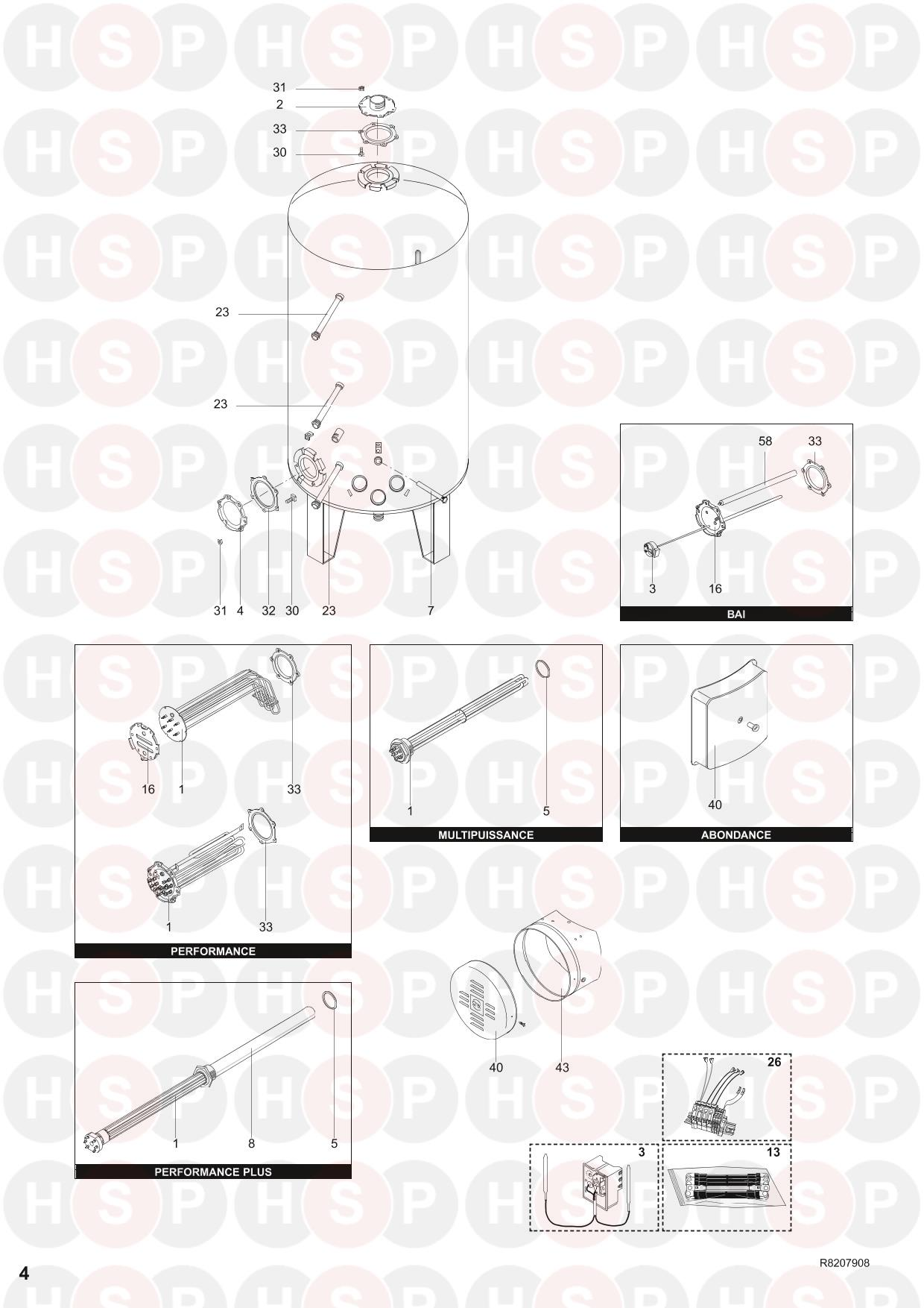 EXPLODED VIEW diagram for Ariston PERFORMANCE 2000 R8202893-05EN ED. 5 08/11/2011