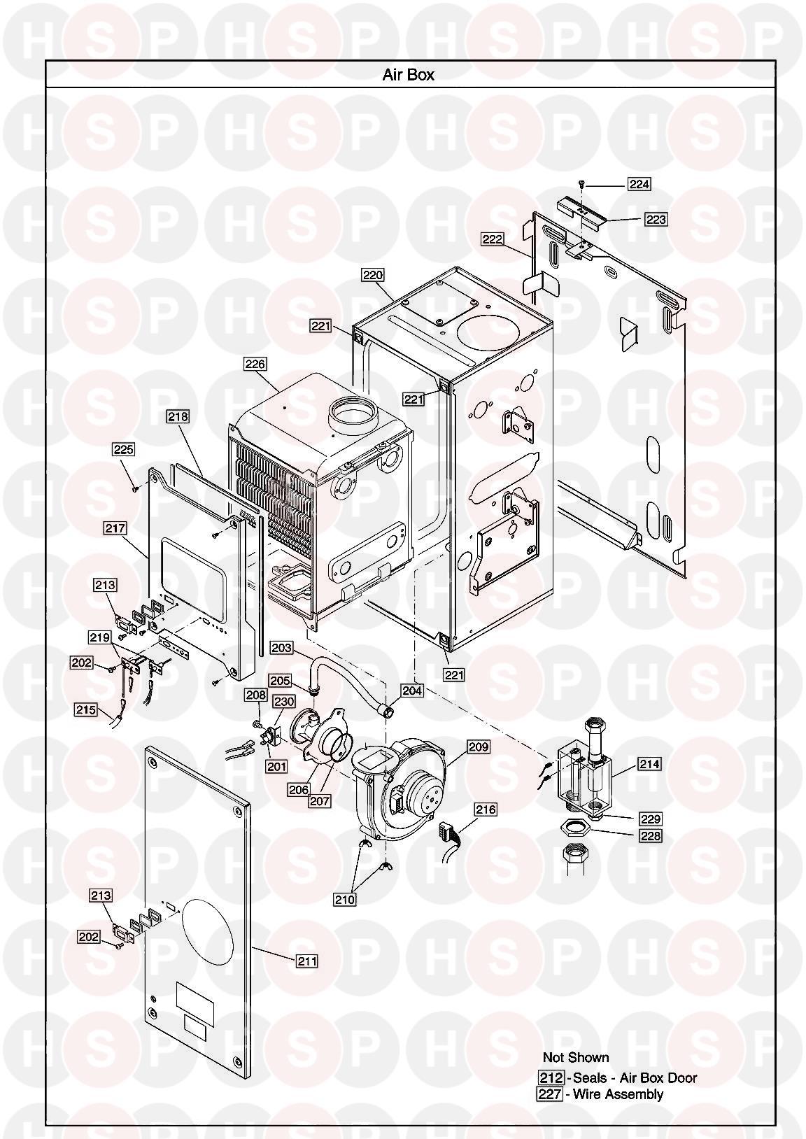 baxi 100 he  air box  diagram