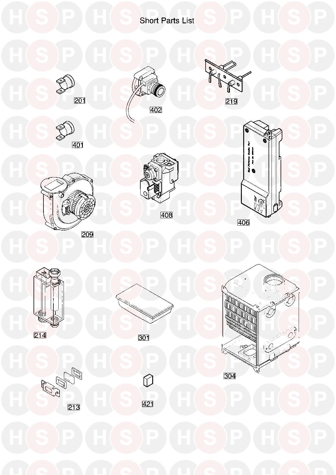 Baxi SOLO 12 HE A Appliance Diagram (SHORT PARTS LIST
