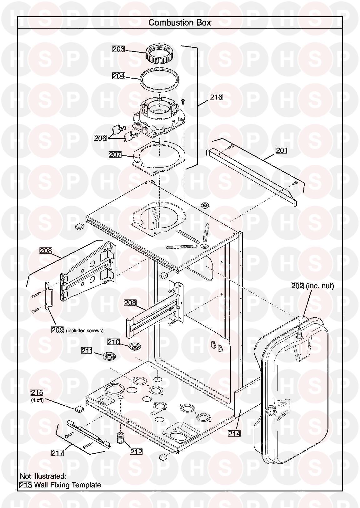 baxi megaflo 2 system 18 compact ga  combustion box  diagram