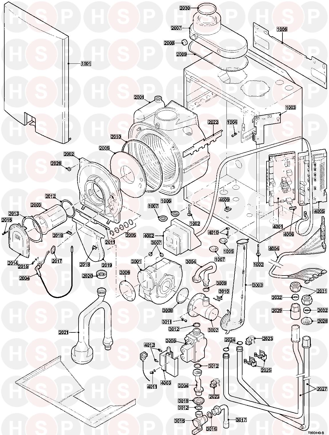 baxi 24h heat only appliance diagram  exploded view