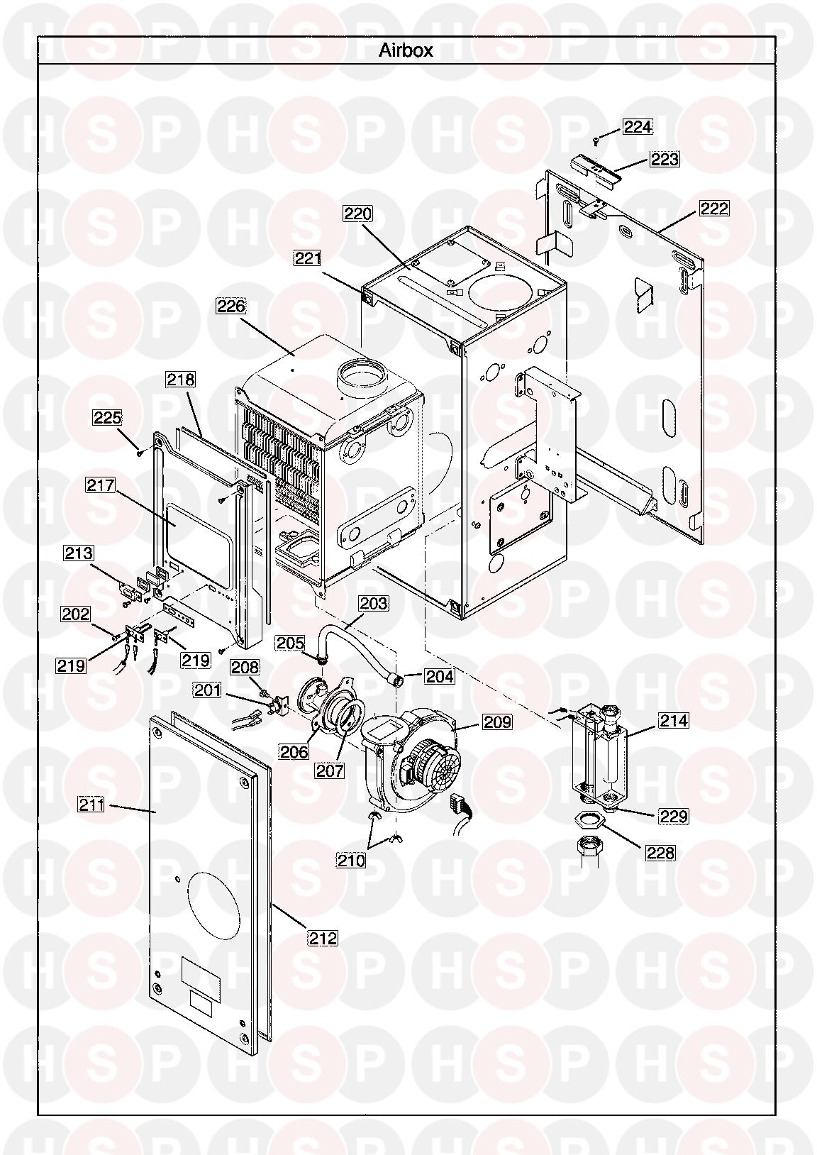 baxi 24he  air box  diagram