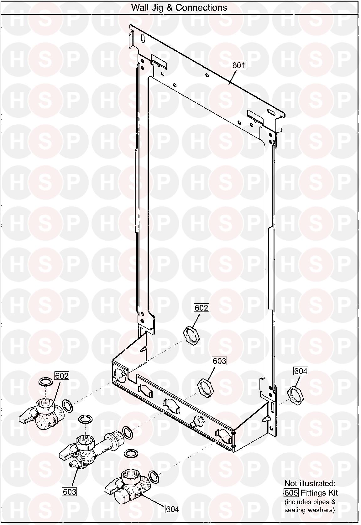 Wall Jig & Hydraulic Connections diagram for Baxi SYSTEM 32