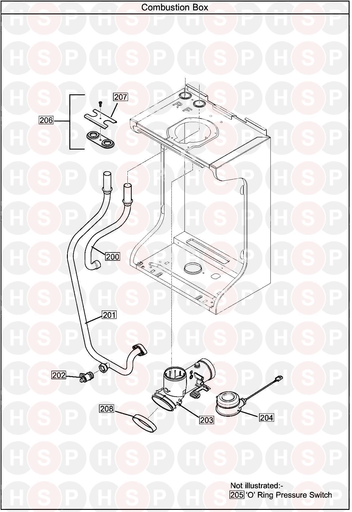 Baxi Ecoblue Heat 21  Combustion Box Diagram