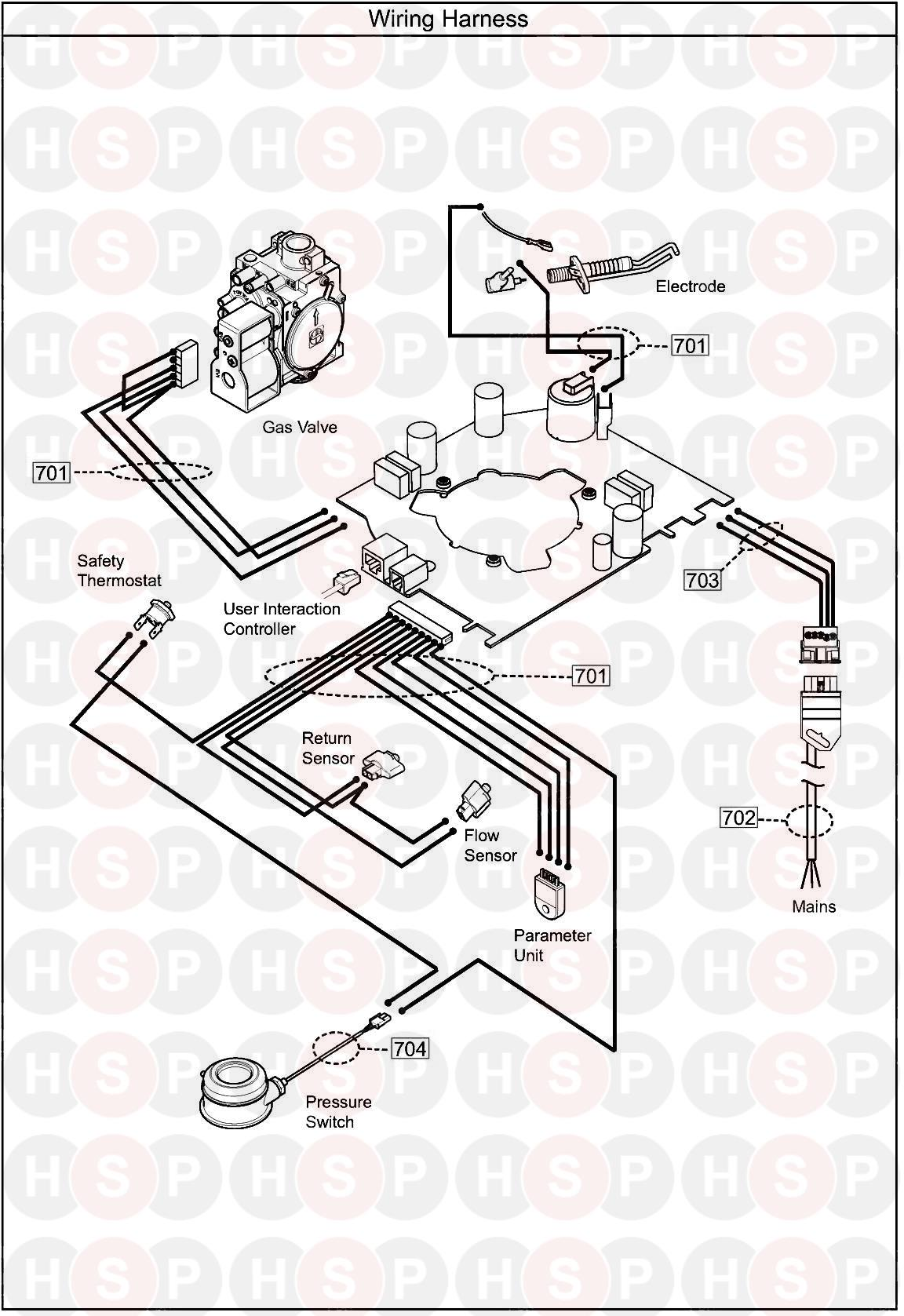 baxi ecoblue heat 21  wiring harness  diagram