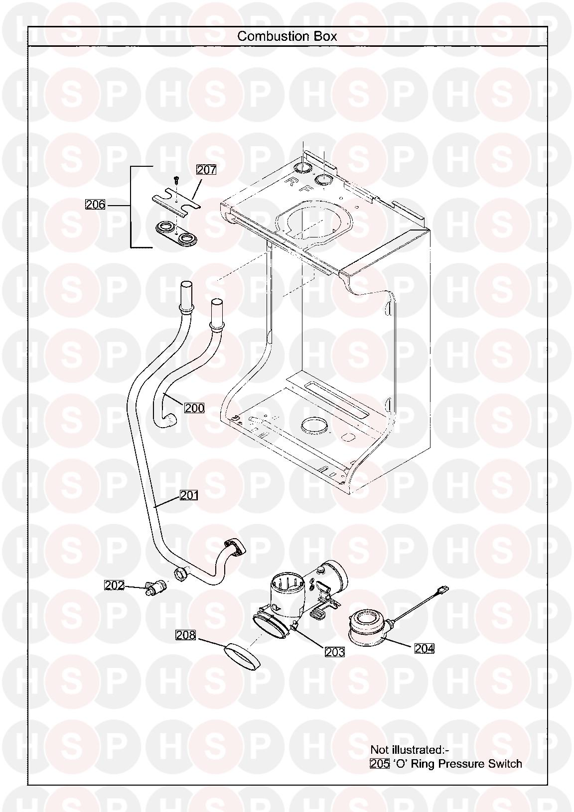 baxi 12 heat only erp  combustion box  diagram