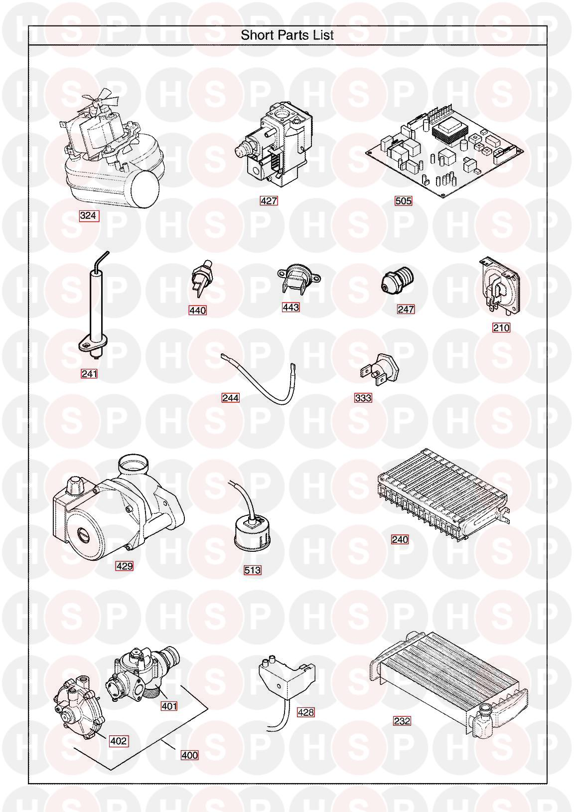 baxi combi 105he appliance diagram  short parts list