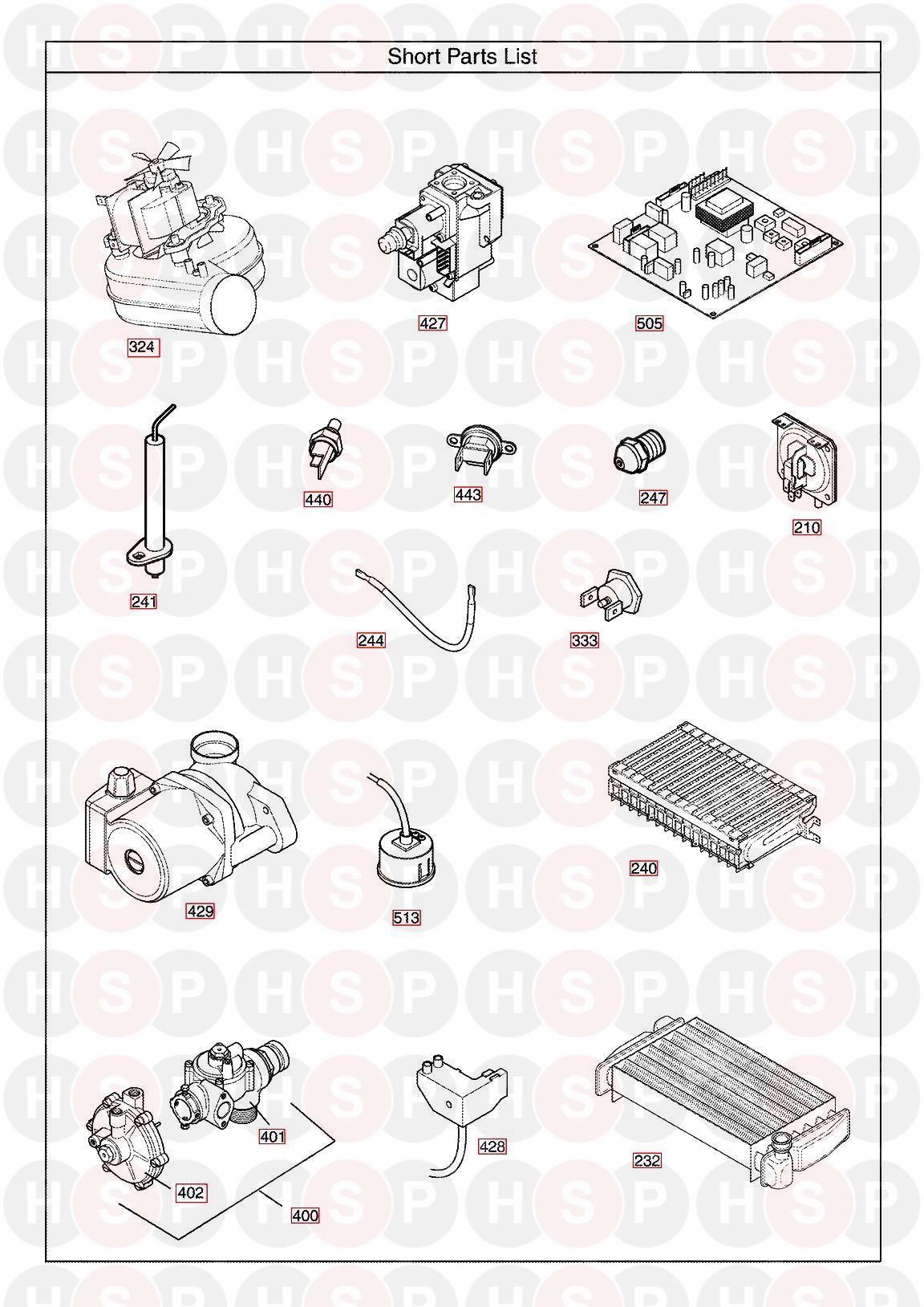 baxi combi 105he  short parts list  diagram