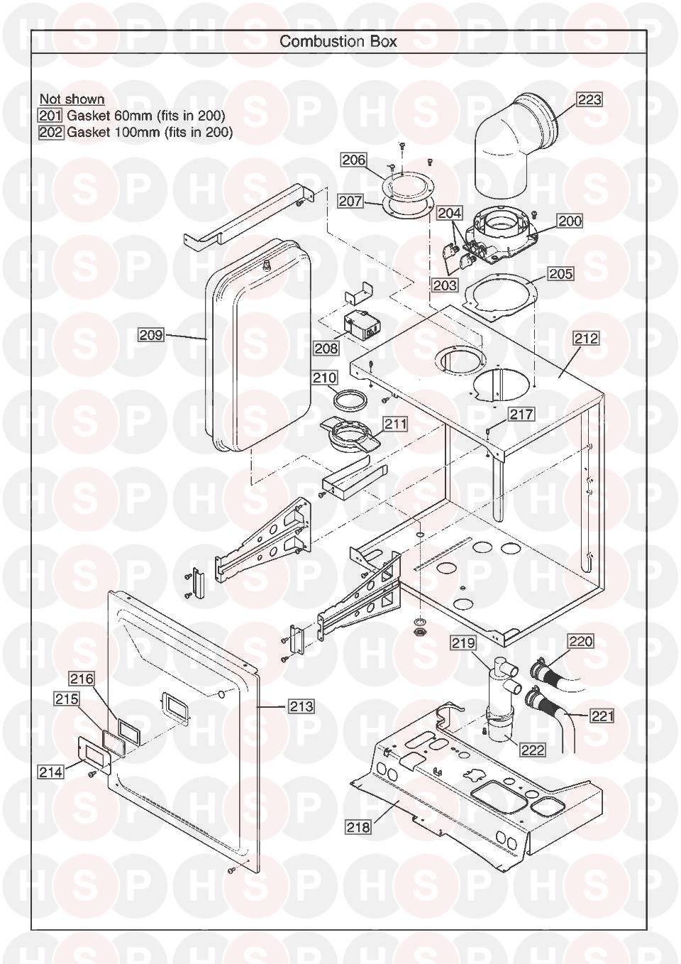 Combustion Box diagram for Baxi PLATINUM COMBI 28 HE A (AFTER SERIAL NO. BNC0932 ISSUE 7)