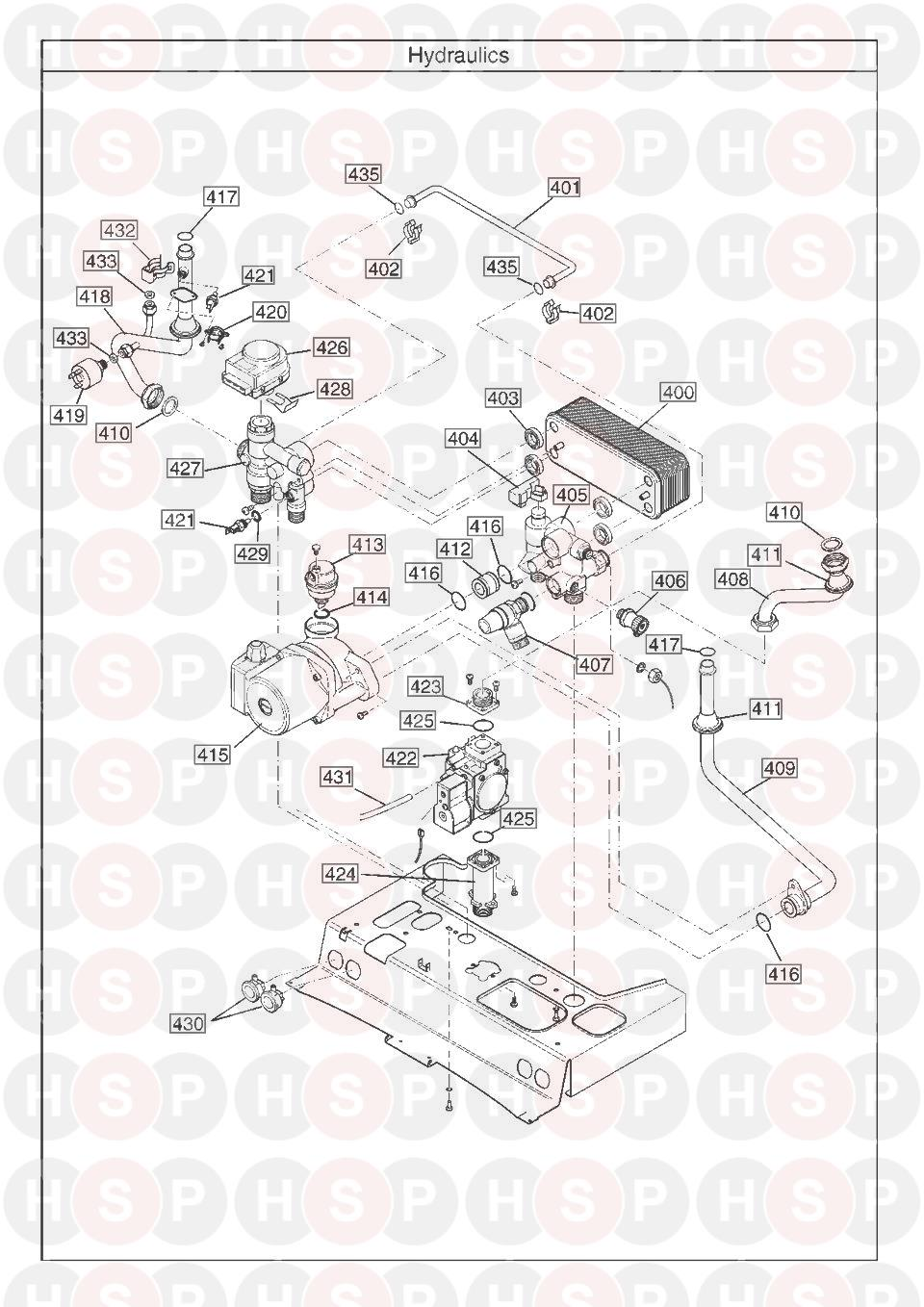 HYDRAULICS WITH BYPASS diagram for Baxi PLATINUM COMBI 28 HE A (AFTER SERIAL NO. BNC0932 ISSUE 7)