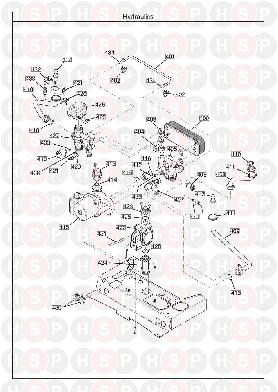 Baxi DUO TEC 40 HE A (ISSUE 8) (HYDRAULICS) Diagram