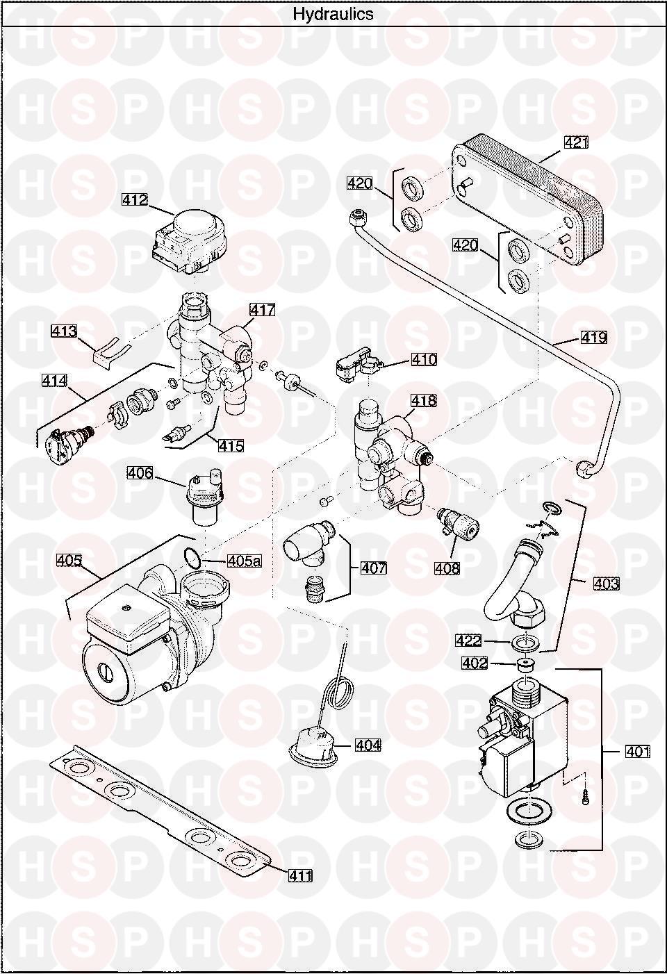 Baxi 40 Combi  Hydraulics Diagram