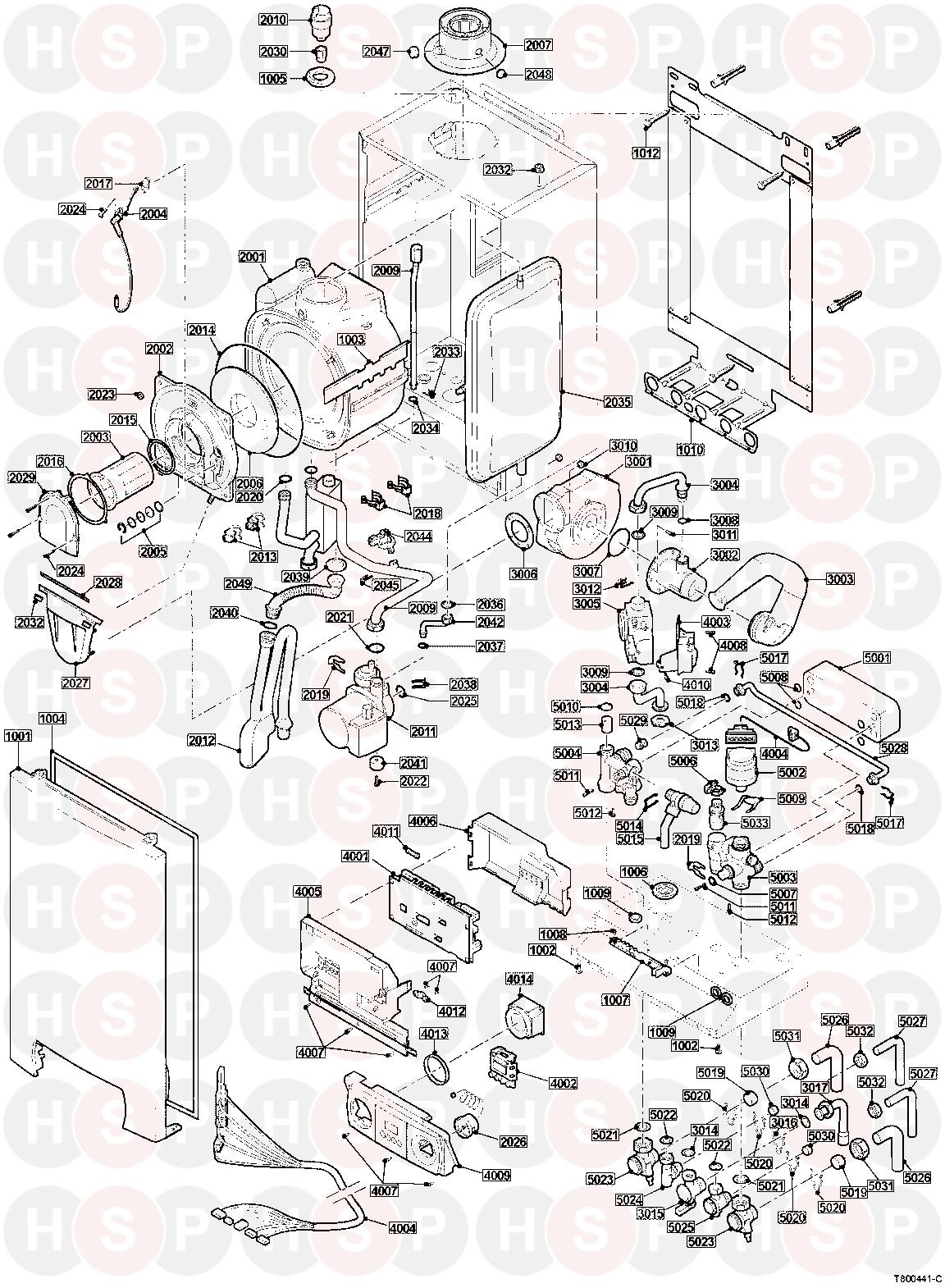 baxi plus 24c combi  exploded view  diagram