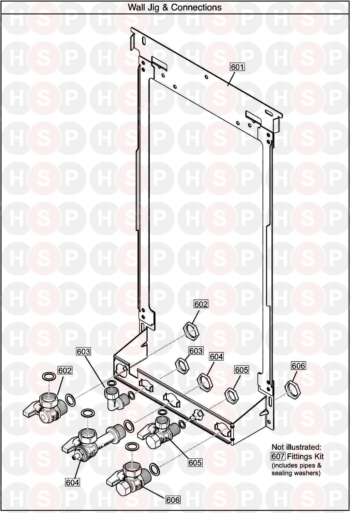 baxi ecoblue 24 combi  wall jig  diagram