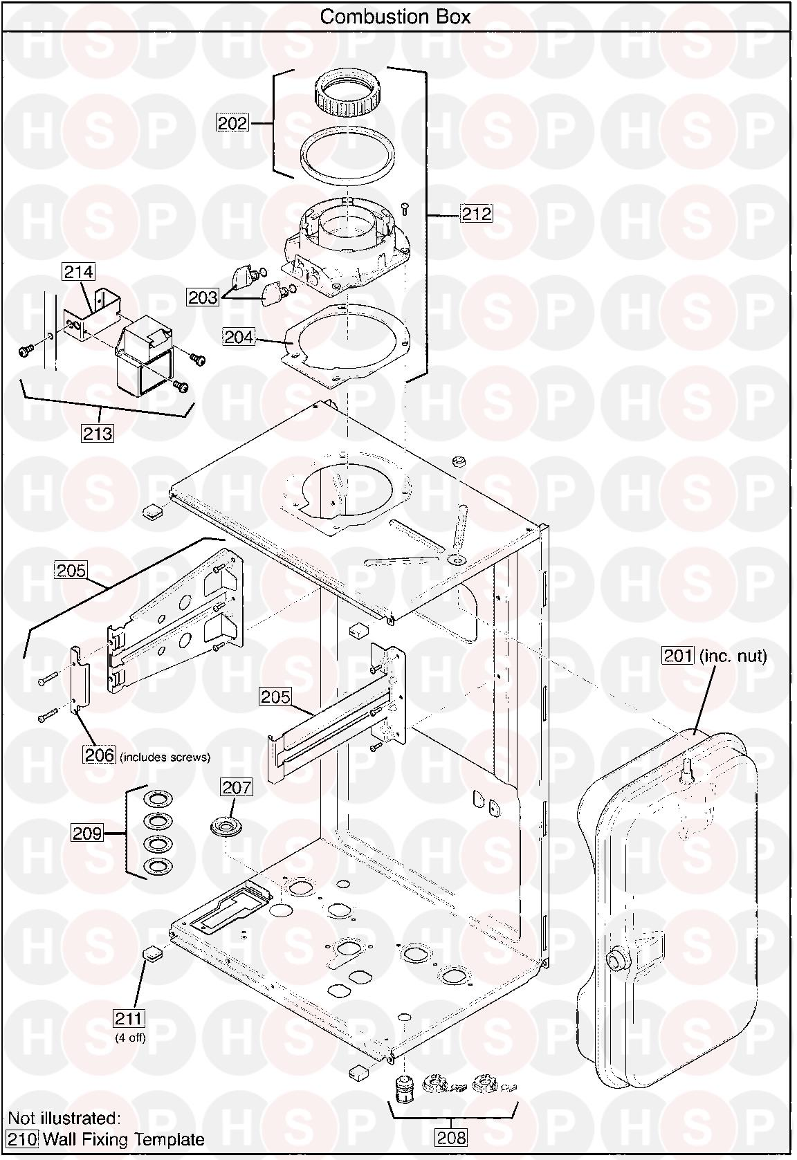 Baxi Plus Combi 33  Combustion Box  Diagram