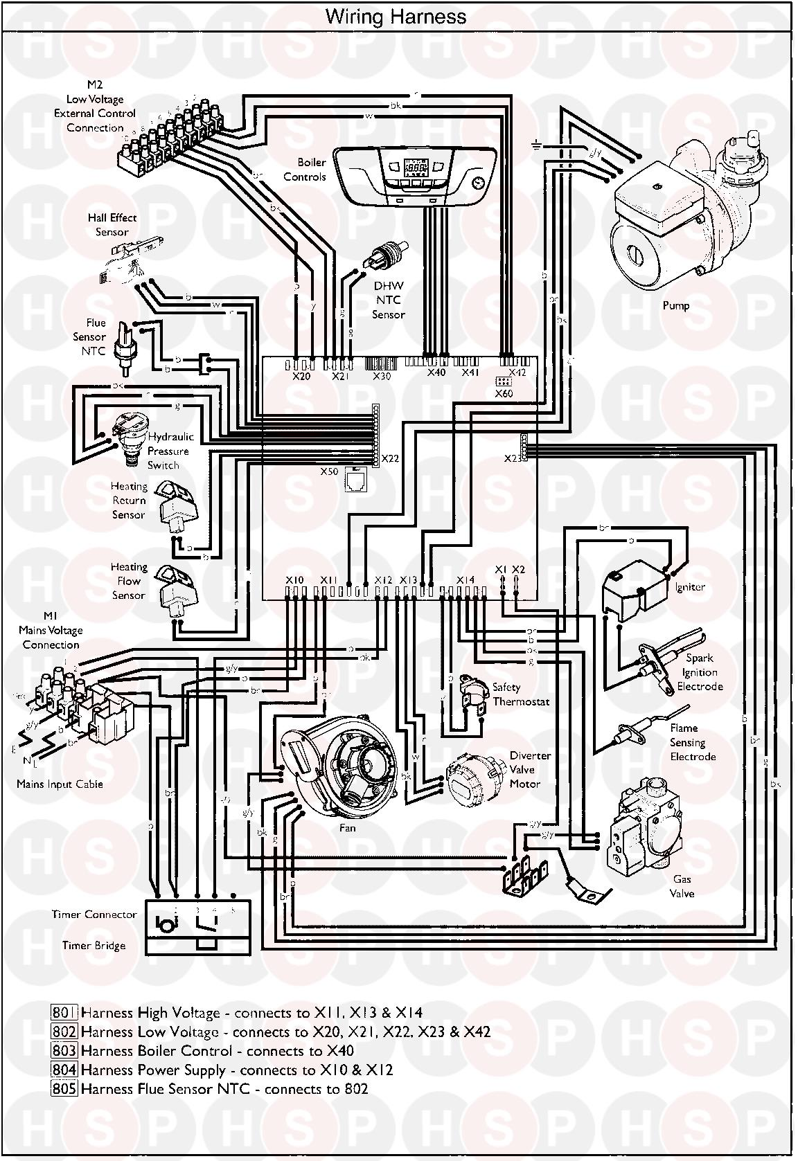baxi plus combi 33  wiring harness  diagram
