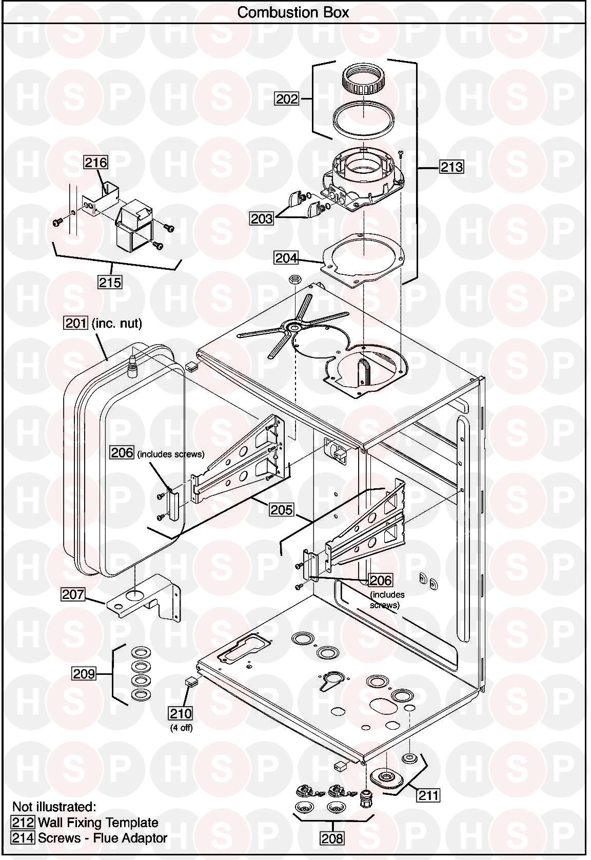 COMBUSTION BOX diagram for Baxi ECOBLUE Advance Combi 33
