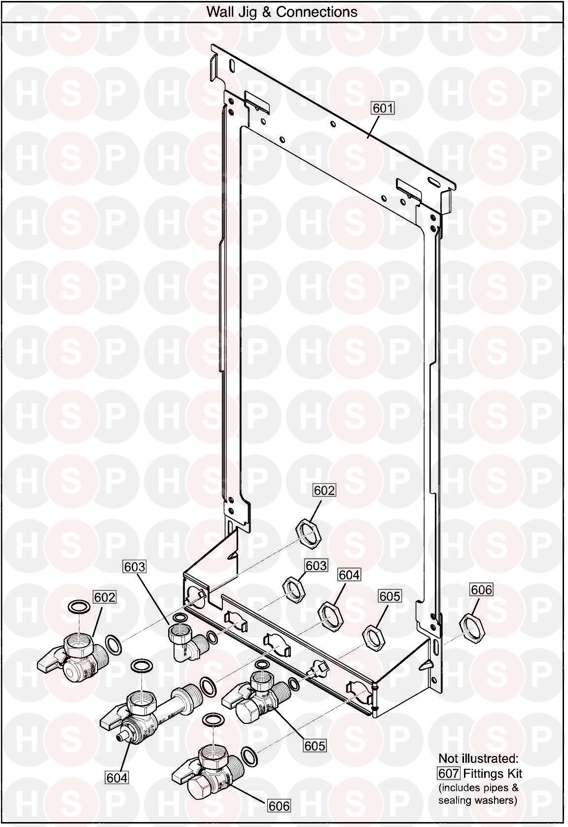 baxi ecoblue advance combi 28  wall jig  diagram