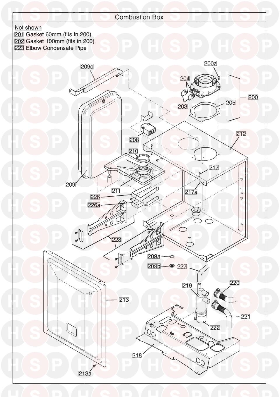 COMBUSTION BOX diagram for Baxi DUO TEC 33 Combi ErP (SERIAL NO. ENDING BC ISSUE 2)