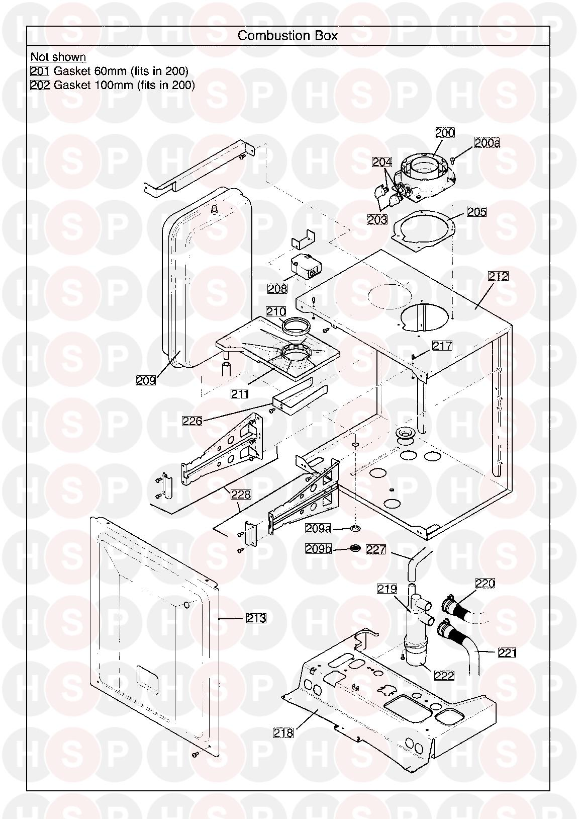 COMBUSTION BOX diagram for Baxi 40 COMBI Erp (SERIAL NO. ENDING IN AC ISSUE 2)