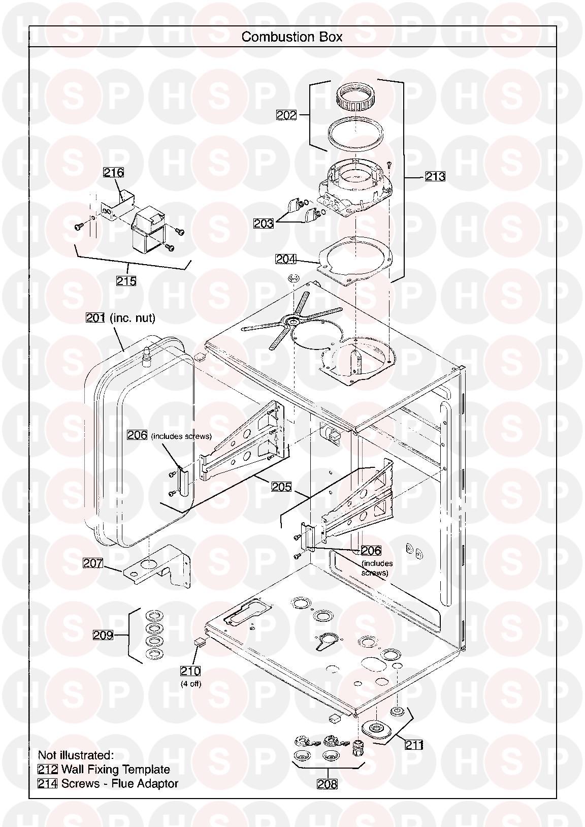 baxi advance combi 24 erp  combustion box  diagram